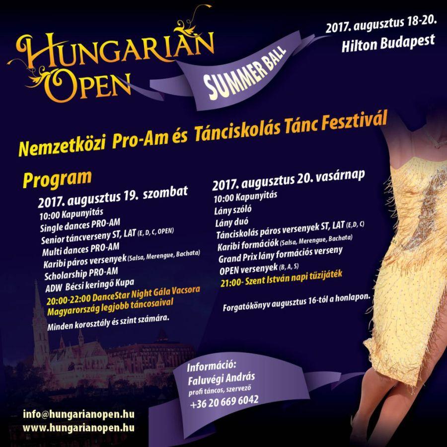 Hungarian Open Summer Ball Nemzetközi Pro-Am és Tánciskolás Tánc Fesztivál 2017 plakát